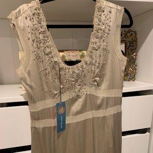 NWT Karen Millen Silver Silk Dress